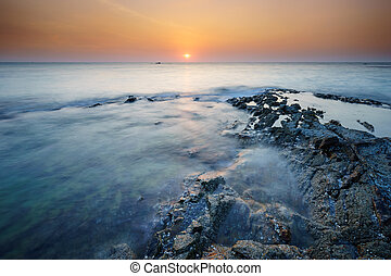 Seascape of Khao Lak Beach at sunset, Phangnga, Thailand