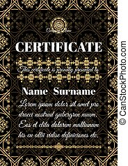 Certificate template with ornamental pattern. - Certificate...
