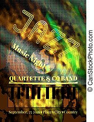 Vector jazz or blues music poster template. Abstract...