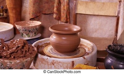Just made Potters pot rotating on a spinning wheel