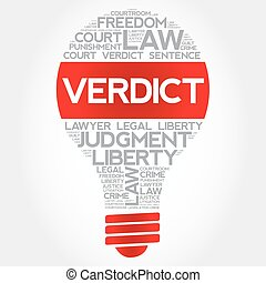 Verdict bulb word cloud concept