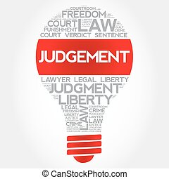 Judgement bulb word cloud concept