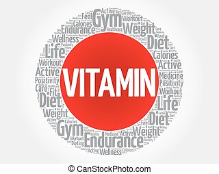 VITAMIN circle stamp word cloud, fitness, sport, health...