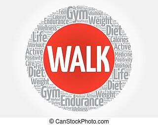 WALK circle stamp word cloud, fitness, sport, health concept