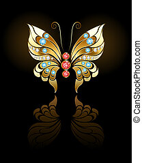 Gold Butterfly with Gems - butterfly jewelry made of gold,...