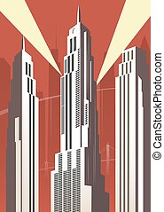 Vertical cartoon cityscape on red background Art deco style...