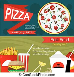 Fast food banner design concept Flat icons of junk food...