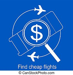 search the airline tickets vector icon