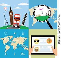Different types of travel. Business travel concept