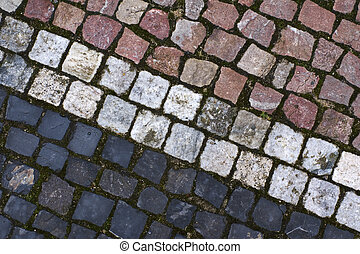 Color stone blocks of sidewalk