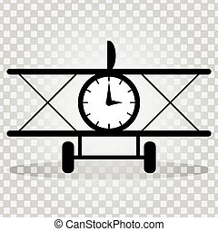 monochrome plane with a clock with a shadow on a light background abstract symbol