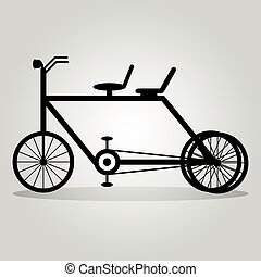 monochrome bike with a shadow on a light background abstract symbol