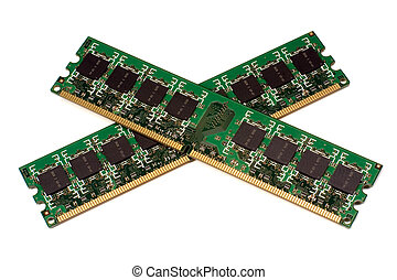 Memory crosswise - Two modules of the memory lying...