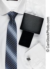 Classic style men and 39;s fashion, tie, shirt, telephone -...