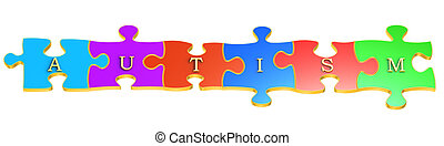 Autism concept with colour puzzles, 3D rendering isolated on...