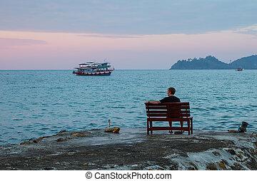 בודד, יושב, איש, ספסל
