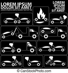 silhouette insurance icons for car accident vector form