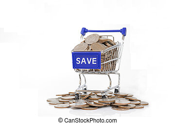 Save concept with shopping cart with full of coin