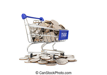 TAX concept with shopping cart with full of coin