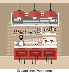 Cafe Interior Different Beverages Coffee Maker Barman Bar...