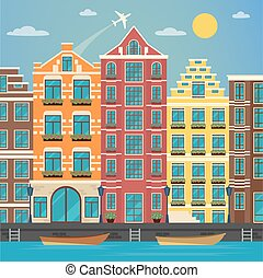 European City. Urban Scene. European Architecture. Vintage House. River with Boats. Travel Background. Vector illustration. Flat style
