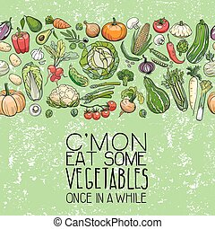 different vegetables drawings