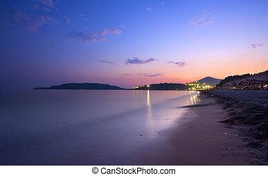 Montenegro sea-side during summer season at night.