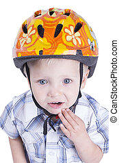 Young boy with cycling helmet - Two years old boy with...