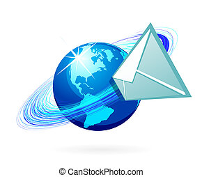 Mail icon - Mail in globe icon on whhite background. Bitmap...