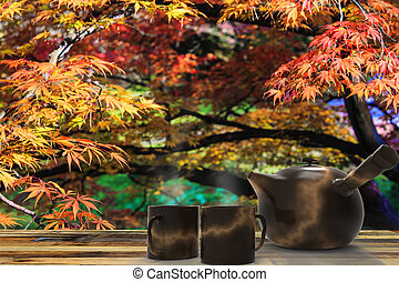 beautiful ceramic teapot with nice background - The...