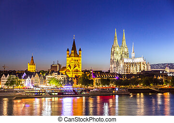 Cologne Cathedral River Rhine - Cologne Cathedral along...