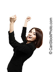 Successful young business woman happy for her success....