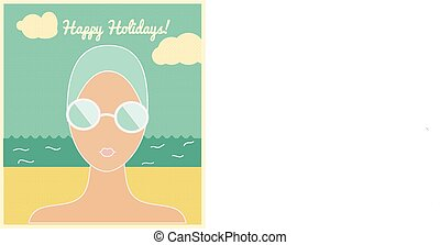Woman in swimming cap, holiday card