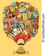 Dream and thought of Indian man - vector illustration of...
