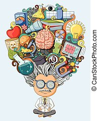 Dream and thought of scientist - vector illustration of...