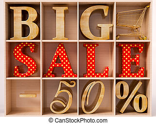 Big Sale text - Big sale and 50 lettering in wardrobe