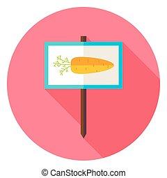 Garden Carrot Vegetable Sign Circle Icon