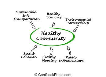 diagrama, sano, comunidad