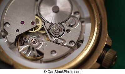 Clockwork USSR watch - Detail of clockwork USSR watch