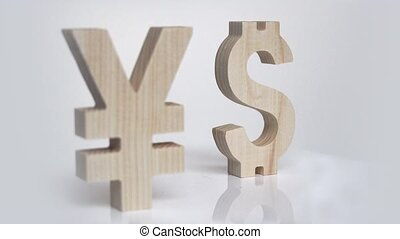 Exchange rating. Currency sign Yen, Dollar rotation -...