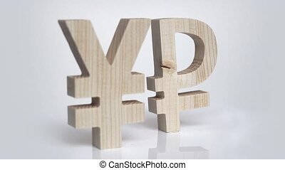 Exchange rating. Currency sign Yen, Ruble rotation -...