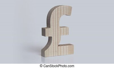 Wooden pound sterling symbol rotation on a white background