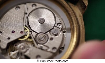 Winding clockwork USSR watch - Detail of clockwork USSR...