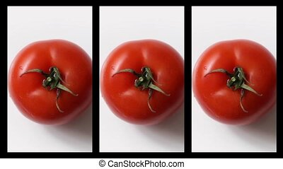 Collage of fresh tomatoes rotation on white background - Red...