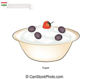 Tajik Yogurt or Fermented Milk Cream with Sour Flavor -...