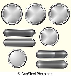 Set of blank grey buttons