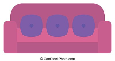Purple sofa with pillows.