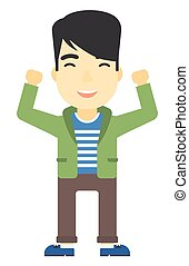 Man with raised hands up. - An asian man with raised hands...
