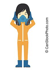 Man in protective chemical suit - An asian woman in...