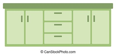 Kitchen cabinet with drawers vector flat design illustration...